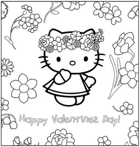 happy valentines day from hello kitty coloring page for