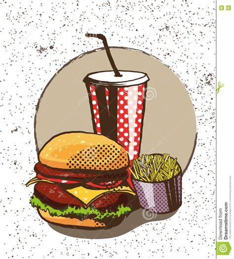 imágenes retro soda comic fast food mini posters collection vector
