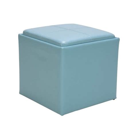 trent home ladd faux leather storage cube ottoman in blue