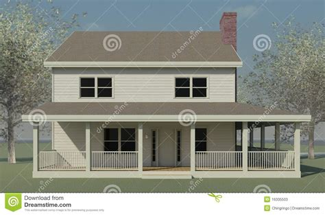 farmhouse elevations farmhouse elevation with trees stock illustration image