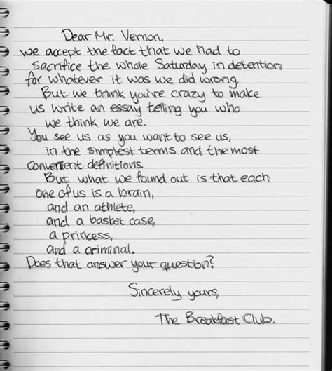 breakfast club letter 17 best images about don t you forget about me on 1101