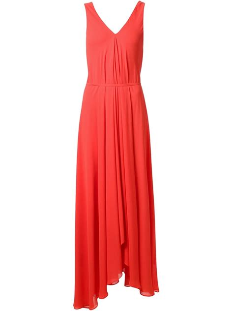 draped maxi dresses saloni draped maxi dress in red lyst