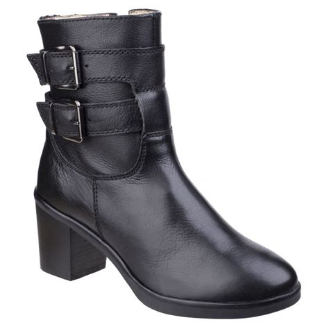 hush puppies womens saige olivya black leather ankle boots