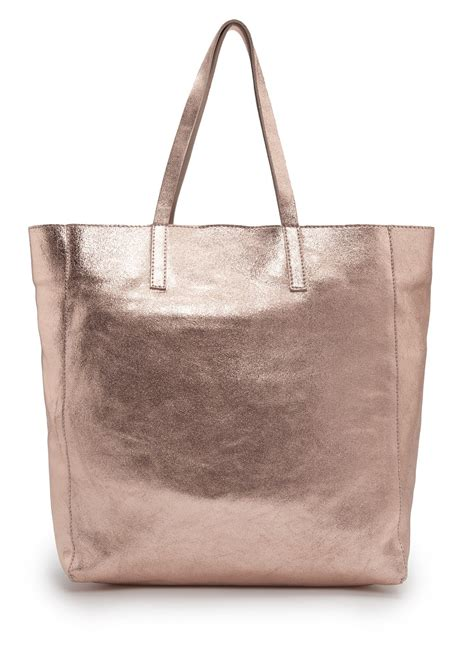 Ficcare Metallic Leather Bags by Mango Touch Metallic Leather Tote In Metallic Lyst