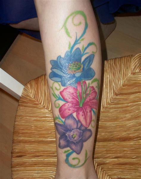 tattoos without outlines my lower leg flowers without back outline