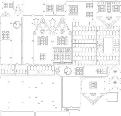 Souvenir House In European Style Drawing Laser Cut Vector Model Vector Template For Laser Laser Cut House Template