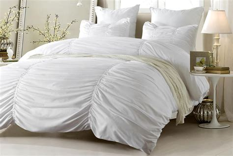 ruched design white bedding set includes comforter and