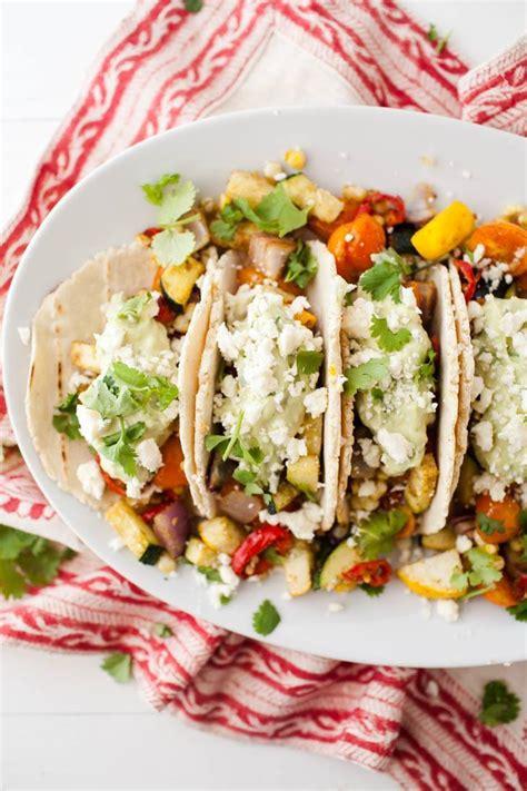 how to make vegetarian tacos recipe summer vegetarian tacos with avocado naturally ella