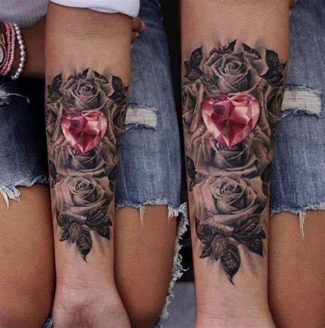 heart shaped rose tattoo and roses by moni marino tattoos