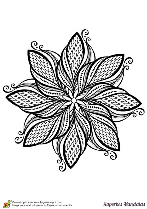 Coloriage d'un superbe mandala de feuille stylisée