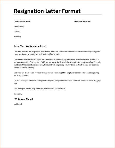 letter of resignation word resignation letter word format for personal reason sle