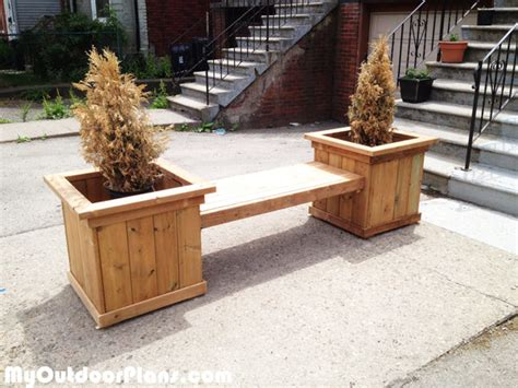 outdoor planter bench plans outdoor planter bench myoutdoorplans free woodworking