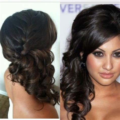 bridesmaid hair up do front and back side pony with