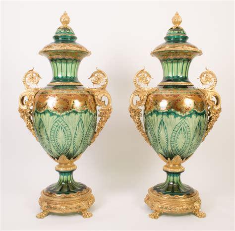 4 Foot Vase by Pair Of 4ft Green Cut Glass Enamelled Ormolu Vases