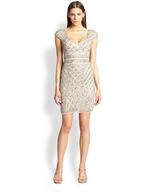 beige beaded cocktail dress theia beaded cocktail dress in beige putty lyst