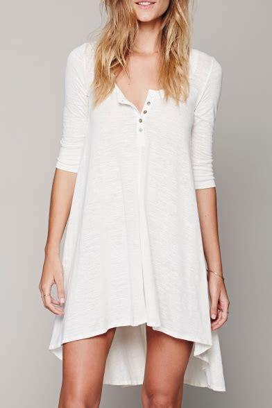 Sleeve Plain T Shirt Dress casual neck half sleeve high low hem plain t shirt