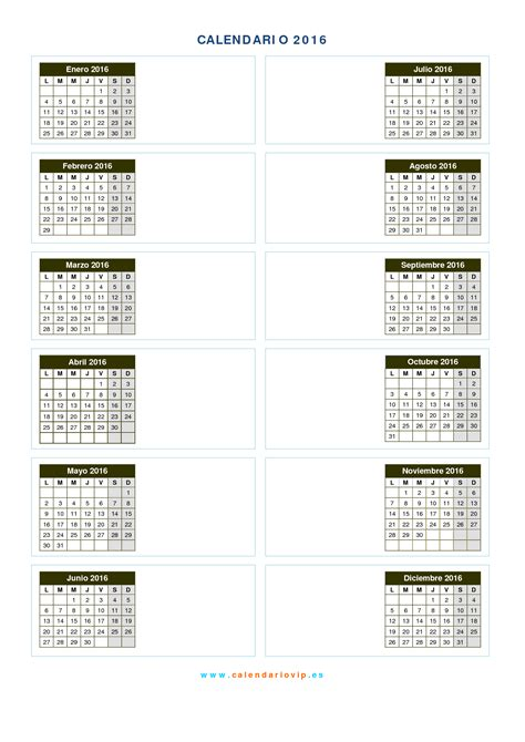 machote calendario 2016 calendario 2016 para imprimir gratis