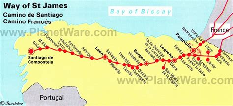 El Camino Map by El Camino De Santiago Trail The Way Of St Maplets