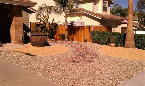 xeriscape design different colors textures sizes of decorative gravel with concrete borders