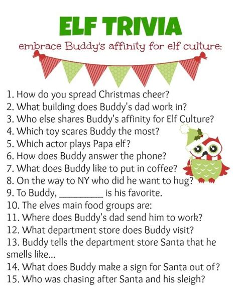 printable christmas games and quizzes elf holiday party ideas trivia elves and holidays