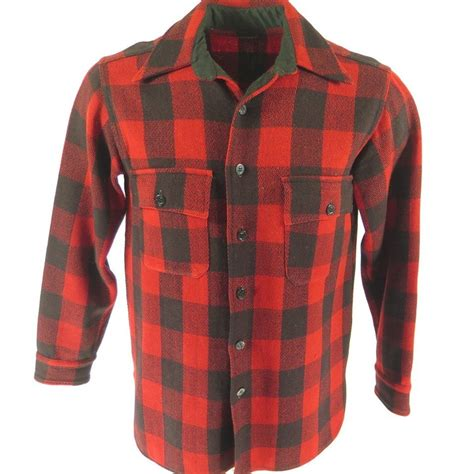 M Plaid Shirt vintage 30s ll bean wool shirt mens m buffalo plaid cpo