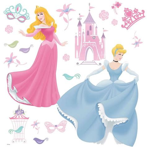 disney princess wall stickers large disney princess pack of 19 stickers cinderella sleeping