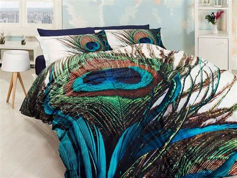 peacock feather comforter 3d 100 cotton blue and green unique bedding set for