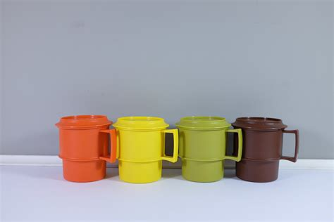 Yellow Choco Tupperware vintage tupperware mugs cups with lids four set