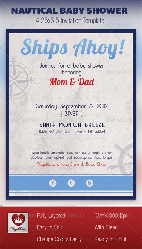 nautical baby shower invitation template graphicriver