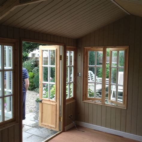 Lining Shed Walls by Summerhouse Insulated And Lined With Moisture Resistant