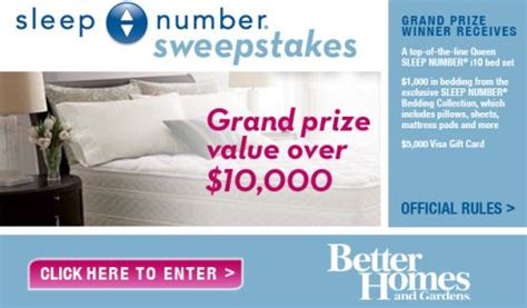 Free Visa Gift Card Numbers - better homes and gardens sleep number sweepstakes win a bed set and 5 000 visa gift
