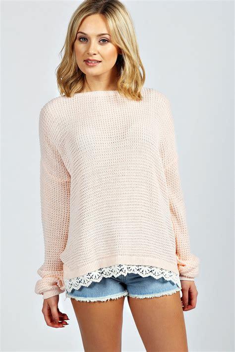 lace knit jumper boohoo womens alecia waffle knit lace trim jumper