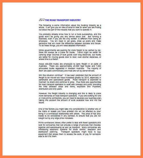 business plan letterhead 7 business plan template for transport company company