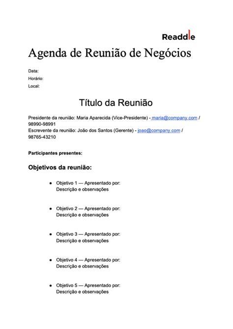 Modelo gratuito de Agenda de Reunião | Baixe o PDF da
