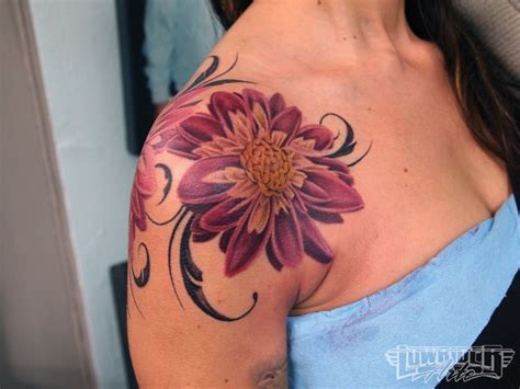 tips for getting a tattoo on your shoulder colorful rose shoulder tattoos girl tattoo feminine