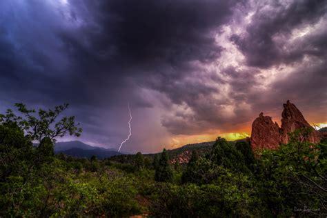 garden of the gods lighting lightning strike on the peak at sunset dan bourque