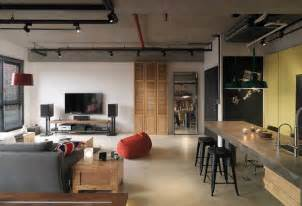 Modern Kitchen Designs Melbourne industrial loft apartment with red accents in taipei