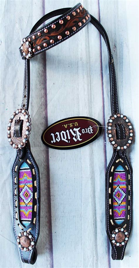 beaded tack equine show bridle western leather headstall beaded
