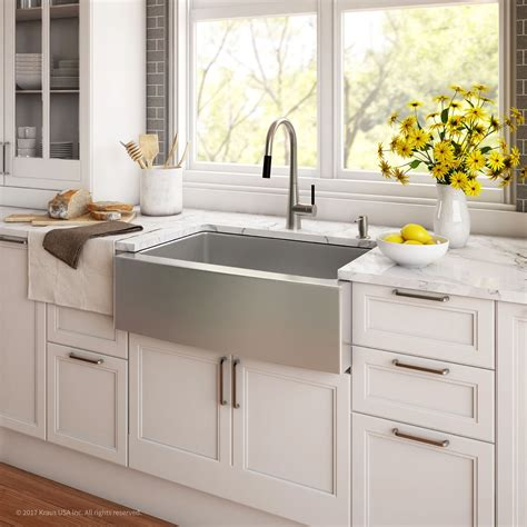 kraus 36 apron sink kraus 36 inch farmhouse double bowl stainless steel