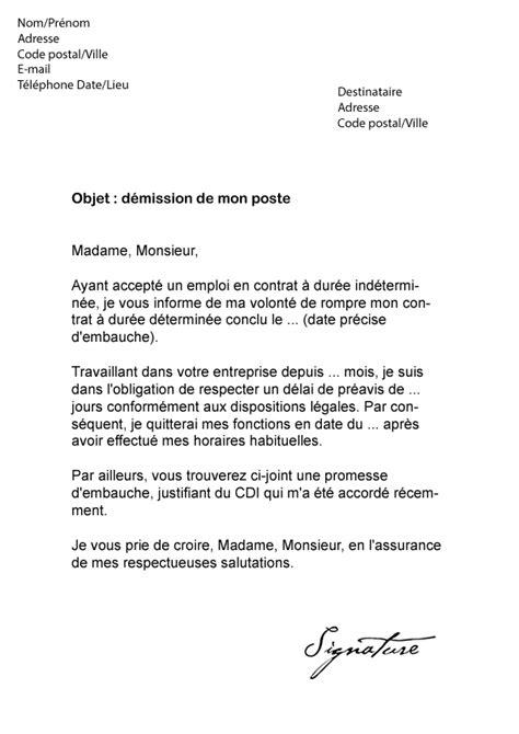 exemple lettre de demission vacataire