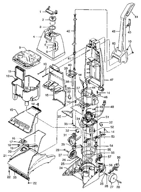 hoover steamvac parts diagram hoover f5825 steamvac carpet cleaner parts