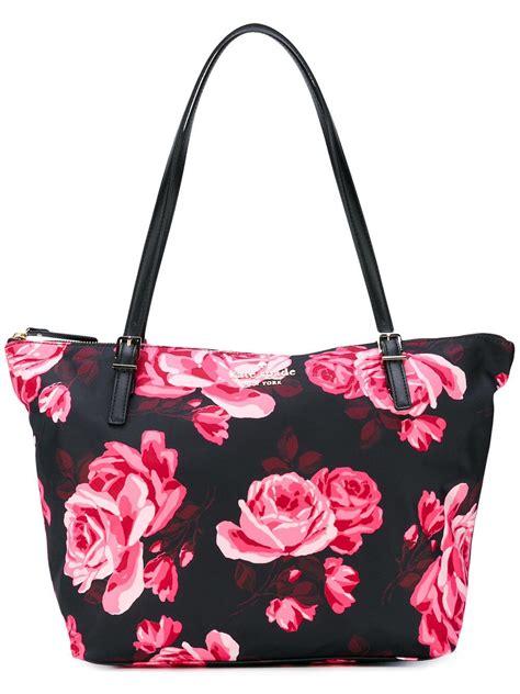 Kate Spade Hobo Tote Flower lyst kate spade floral print tote bag in black