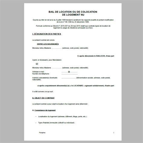 bail de location gratuit pdf
