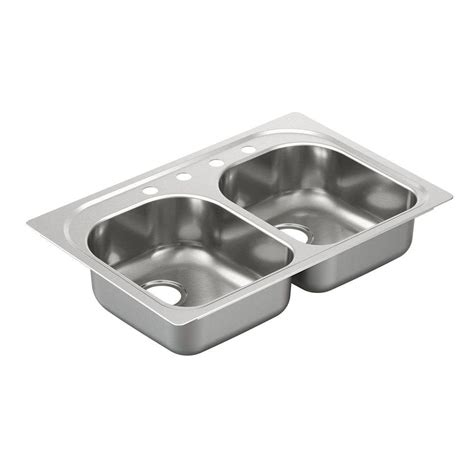 moenstone kitchen sinks moen 2200 series drop in stainless steel 33 in 4 bowl kitchen sink g222154 the