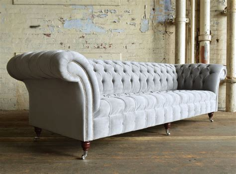 4 seater chesterfield sofa naples silver grey velvet 4 seater chesterfield sofa