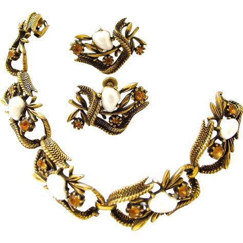coro faux pearl antiqued gold tone bracelet and earring
