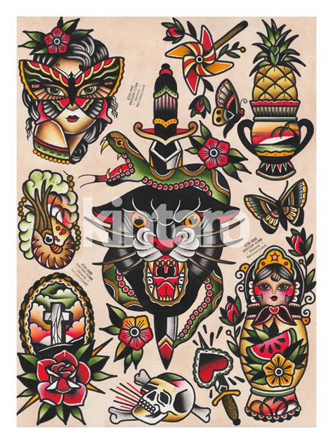 tattoo sheets collection of 25 traditional tattoos flash sheet