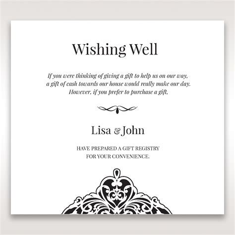 Elegant Crystal Black Lasercut Pocket Wishing Well Card