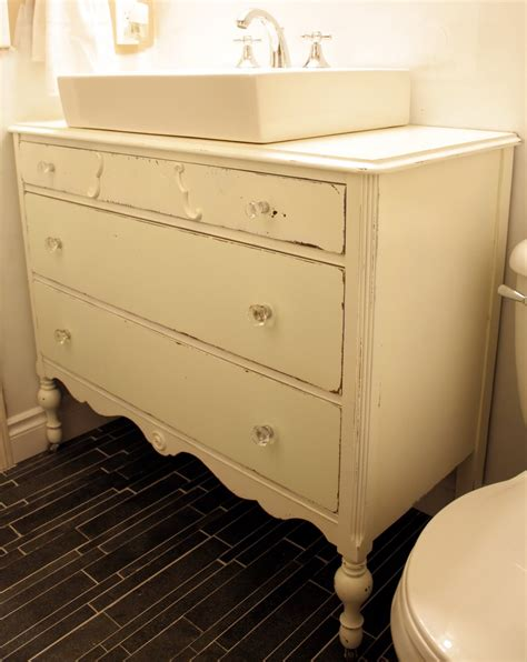 antique dresser into bathroom vanity