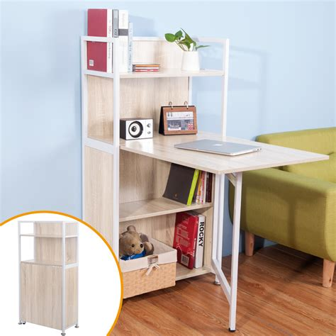 carver compact computer desk 4 storage shelves with